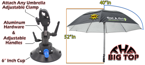 "A118G2 : GET-A-GRIP 80"" BIG TOP UMBRELLA WITH THE GRIP 6 INCH CUP"