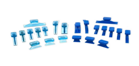 410-8Vpdc-E:  Keco Dead Center Variety Pack Ice & Blue Straight Curved Crease Glue Tabs