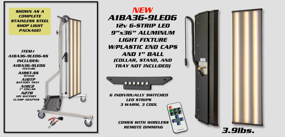 A1Ba36-9Led6-Ss:  12V 6 Strip Led 9X36 Alum Fixture With Dim Remote And Stainless Steel Stand.