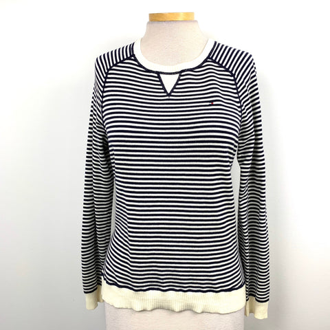 Tommy Hilfiger Womens Crew Neck Sweater Black and white stripes Size Medium -AR12