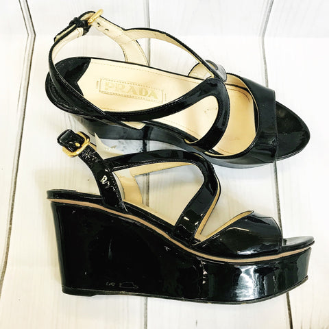 Prada Womens Shoes Black Platform sandals Size 35.5 Open toe Retail $999 II51