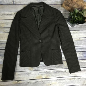 Rachel Mara Size Small Pin Stripped Blazer Dark Olive Green/ Brownish Color