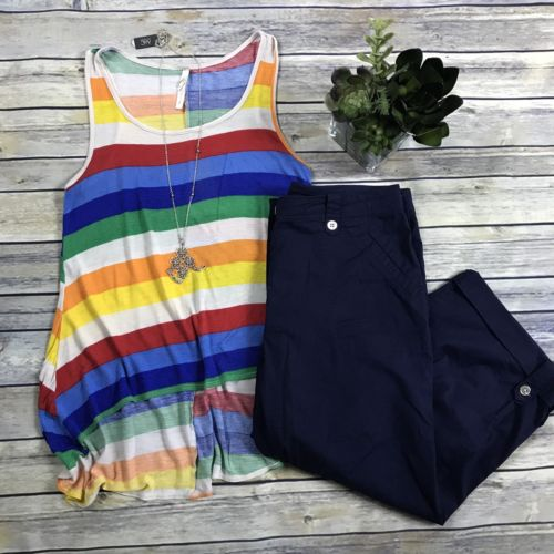 2 Pcs Women's Clothing Lot Size Small Tradition Pants Size 6 Rainbow Tank Top