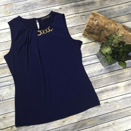 Medium Ivanka trump Navy Top (no Size Tag, Please Pay Attention To Measurements)