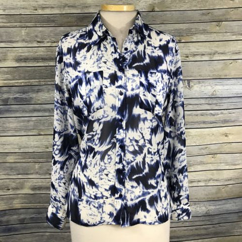Small Guess Button Down Long Sleeve Top With Blue Print