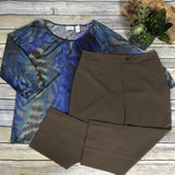 2 pcs womens clothing lot Chicos Size 1 top, Cleo's size 4P pants (Small)