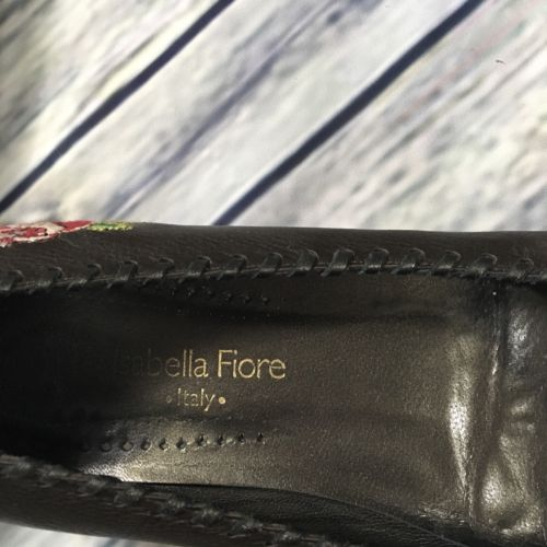 8.5 Isabella Fiore Flats Made In Italy Embroidered Flower Design