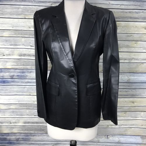 Medium Size 8 DKNY 100% Leather With Polyester Lining One Button Long Coat