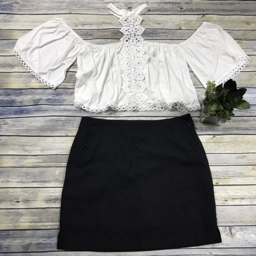 Large 2 Pcs Women's Clothing Lot Outfit White Off Shoulder Crop Top
