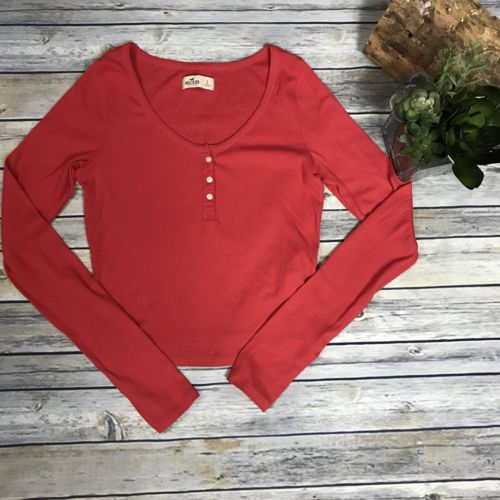 Large Junior Size Hollister Crop Long Sleeve Top Red - AM19