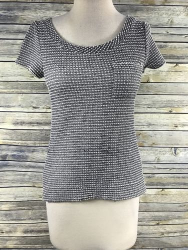 XS Merona thick knit top black white and grey - D1