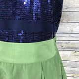 3 Pieces Size Medium Womens Outfit Lot, Zara Green Skirt And Reitmans Navy Blue