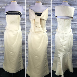 3 PCS City USA Womens Formal Dress Prom Gown Yellow and white NWT Size Medium WW