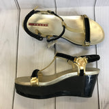 Prada Womens Shoes Black  and gold Platform sandals Size 35.5 Open toe Retail $1