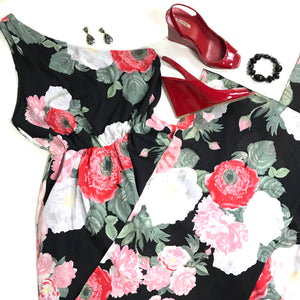Alice Olivia Authenticl Womens Romper Floral Black and Red One Shoulder wide pan
