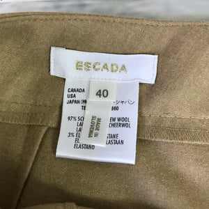Escada Womens Cropped Pants Beige 97% New Wool Size 12 AD16