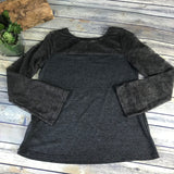 Gorge Womens Grey Long Sleeve Top Lace sleeves NWT Size Medium  -AG08