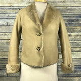 Henri Bendel New York Womens Beige Jacket Shearling 100% Leather  Size Small  II