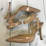 Manolo Blahnik Womens Shoes Patent Beige Pointed toe pumps ankle strap Size 38.5