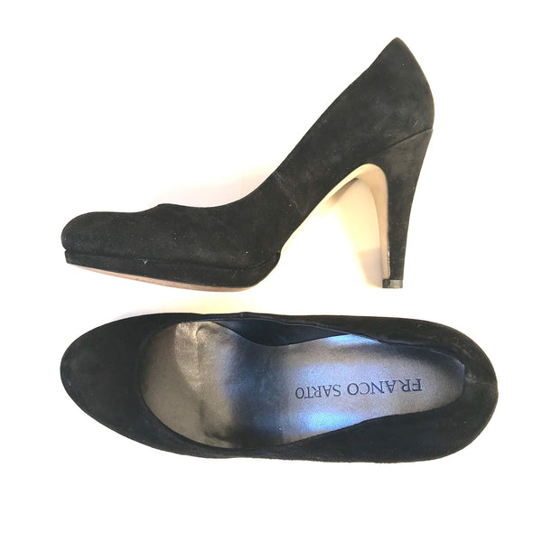 Franco Sarto Womens High Heels Black Suede Shoes Size 7.5 M  - AH07