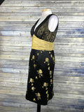 Phoebe Couture Womens Dress Black and Gold Brocade waist Silk blend Size 12 ZZ14