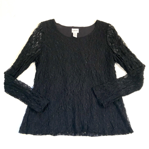 Chico's Womens Black Lace Long Sleeve Top Size 0/Small - AL20