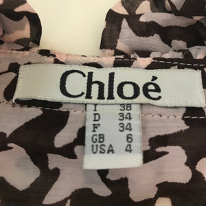 Chloe Womens Silk Short Sleeve Blouse With bow Houndstooth Size 4 - RC08