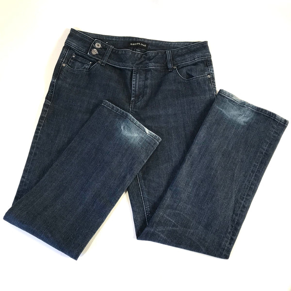 Gasoline Womens Blue Jeans Dark Wash Straight Leg Size 12X30 - AI05