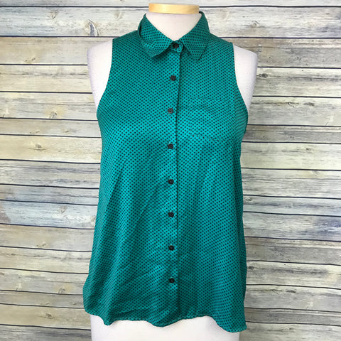 Smart set Women's top Button Down sleeveless Blouse Green Size xSmall- AB10