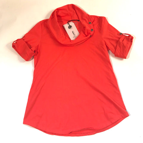 Neon Buddha Womens Top Coral Orange With Tabs Cowl Neck NWT Sz Med- AL16