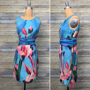 Adrianna Papell Womens Sleeveless Dress Blue Floral dress NWT Size 8- AN18