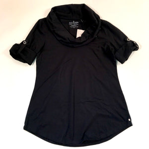 Neon Buddha Womens Top Black With Tabs Cowl Neck NWT Sz XS- AL11