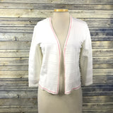 Escada Womens Cardigan white with pink sequin Size 40 (med) KK10