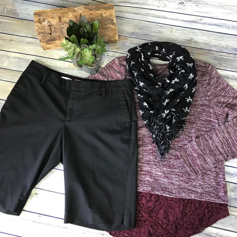 3 Pcs Womens Casual Outfit Lot Gap Bermuda Shorts, Burgundy Sweater Size:Medium