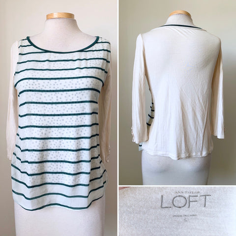 Anne Taylor Loft Women's Top Cream and Green Size Small L3-18