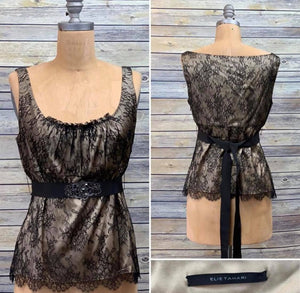 Elie Tahari Lace Champagne Top with belt Size Large L3-21