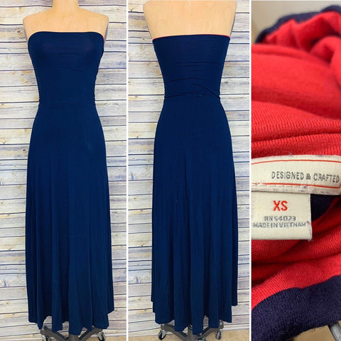 Gap XS Maxi Dress or Skirt Navy Blue (Red top lining)