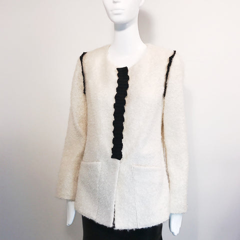 Lauren Nazara Womens White and Black Blazer Wool and Mohair blend Size 14- AL36