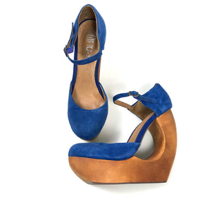 Jeffrey Campbell Womens High Heels Blue Suede with wooden wedge heel Size 9