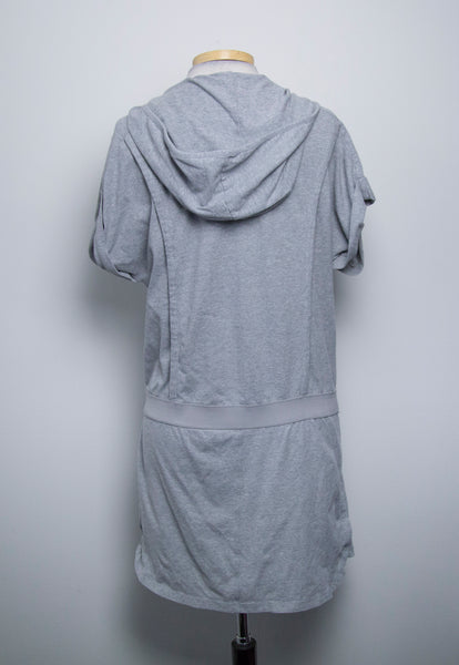 DKNY Active Womens Hooded Athletic tunic grey Short sleeves Size Medium - RC49