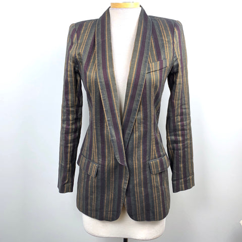 SMYTHE Womens Linen Blazer Jacket Multi Color Size 6 Small -AR03
