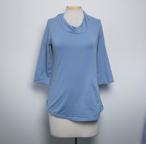 NWT Neon Buddha Womens Top 3/4 sleeve Cowl neck Blue 100% Cotton Size XS- AN14