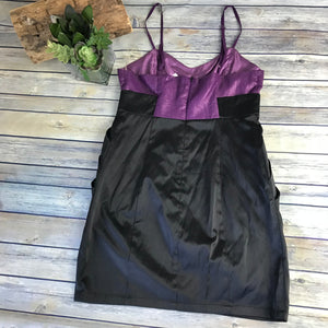 5th Culture Womens Dress Black and Purple Spaghetti Straps Size Large -AG14