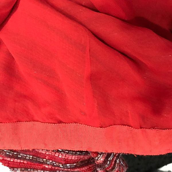 Randolph Duke Womens Skirt Red Sequins Silk lining size 14 (smaller fit)  KK07