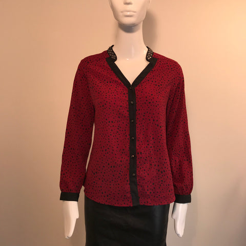 Haggar Womens Top Red Button Down Polka dot Size XSmall- AL34
