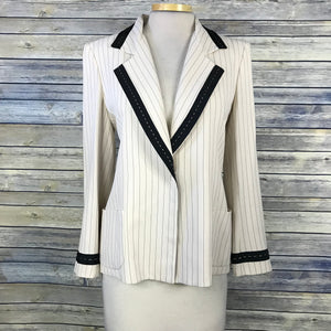 Emanuel Ungaro Paris 2pcs Womens pant Suit Cream with stripes Size 42 part wool