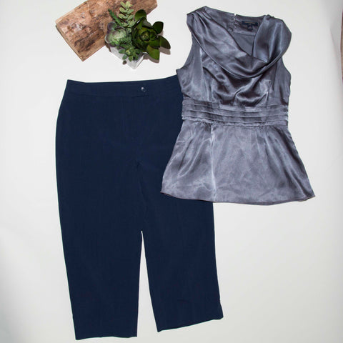 2 Pcs Womens Clothing Outfit Lot Banana Republic top Cleo Pants Size 2P- JJ04