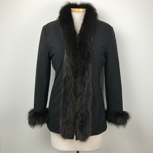 SportMax Italy  Authentic Womens Jacket Faux Fur trim Black Sz Small. MSRP $600