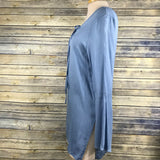 42 Pops Womens Dress/ Tunic Blue bell sleeves v-neck Size Small  /ZZ10