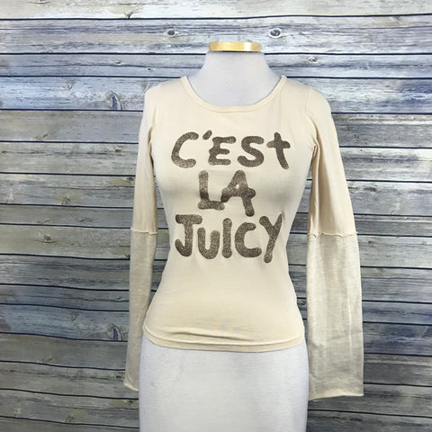 Juicy Couture Womens Cropped Top C'est La Juicy Beige and gold Size Small VV25
